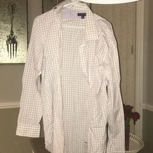 Purple and white long sleeve shirt